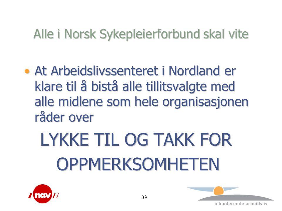 39 Alle i Norsk Sykepleierforbund skal vite At Arbeidslivssenteret i Nordland er klare til å bistå alle tillitsvalgte med alle midlene som hele organisasjonen råder overAt Arbeidslivssenteret i Nordland er klare til å bistå alle tillitsvalgte med alle midlene som hele organisasjonen råder over LYKKE TIL OG TAKK FOR LYKKE TIL OG TAKK FOR OPPMERKSOMHETEN OPPMERKSOMHETEN