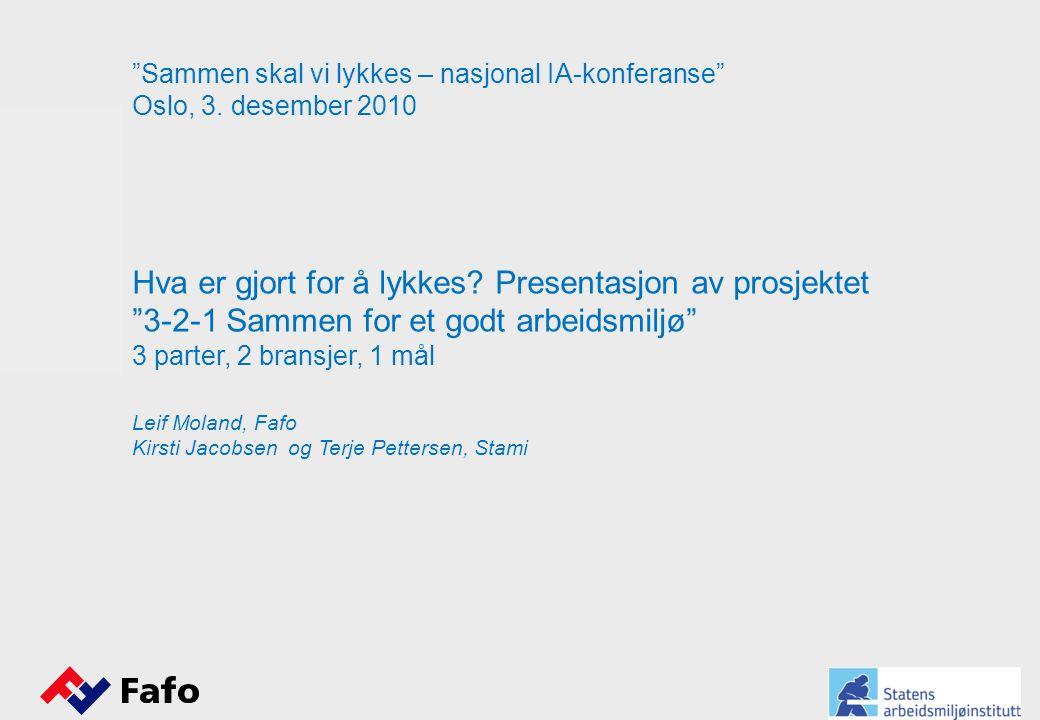 """""""Sammen skal vi lykkes – nasjonal IA-konferanse"""" Oslo, 3. desember 2010 Hva er gjort for å lykkes? Presentasjon av prosjektet """"3-2-1 Sammen for et god"""