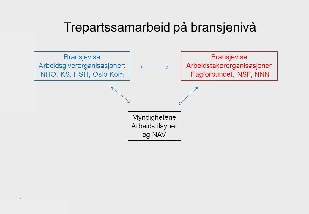 Bransjevise Arbeidsgiverorganisasjoner: NHO, KS, HSH, Oslo Kom Bransjevise Arbeidstakerorganisasjoner Fagforbundet, NSF, NNN Myndighetene Arbeidstilsynet og NAV Trepartssamarbeid på bransjenivå