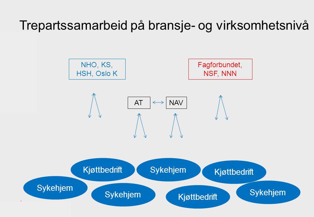 Sykehjem NHO, KS, HSH, Oslo K Fagforbundet, NSF, NNN Kjøttbedrift AT Sykehjem Kjøttbedrift Sykehjem Trepartssamarbeid på bransje- og virksomhetsnivå NAV