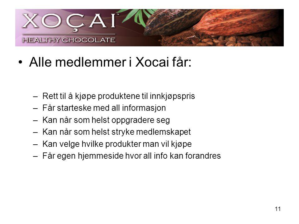 Alle medlemmer i Xocai får: –Rett til å kjøpe produktene til innkjøpspris –Får starteske med all informasjon –Kan når som helst oppgradere seg –Kan nå