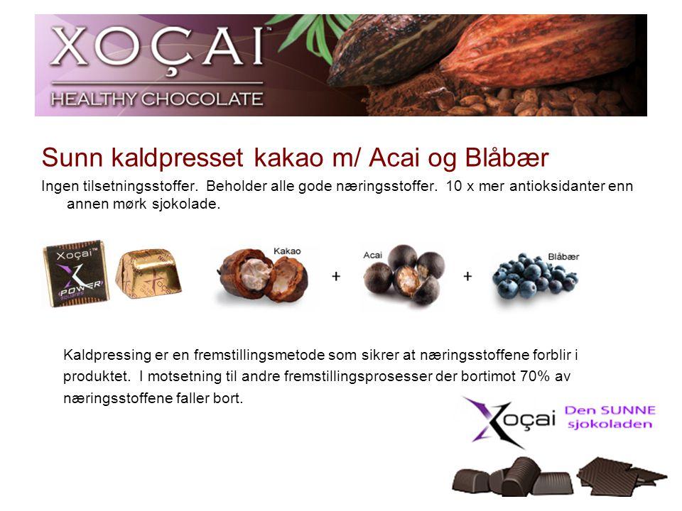 5 Sunn kaldpresset kakao m/ Acai og Blåbær Ingen tilsetningsstoffer. Beholder alle gode næringsstoffer. 10 x mer antioksidanter enn annen mørk sjokola