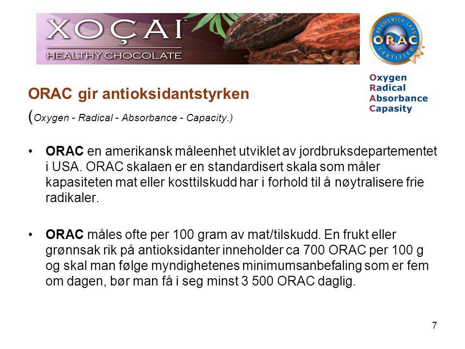 7 ORAC gir antioksidantstyrken ( Oxygen - Radical - Absorbance - Capacity.) ORAC en amerikansk måleenhet utviklet av jordbruksdepartementet i USA. ORA