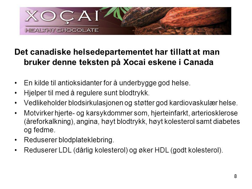 8 Det canadiske helsedepartementet har tillatt at man bruker denne teksten på Xocai eskene i Canada En kilde til antioksidanter for å underbygge god h
