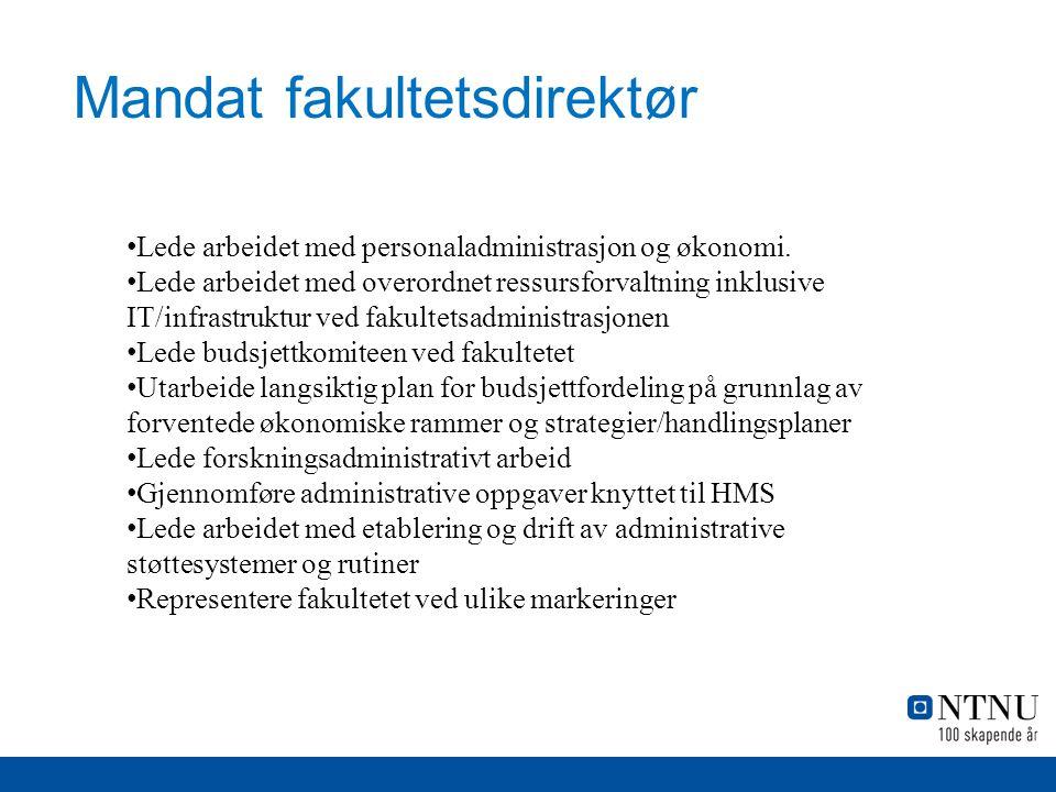 Mandat fakultetsdirektør Lede arbeidet med personaladministrasjon og økonomi.