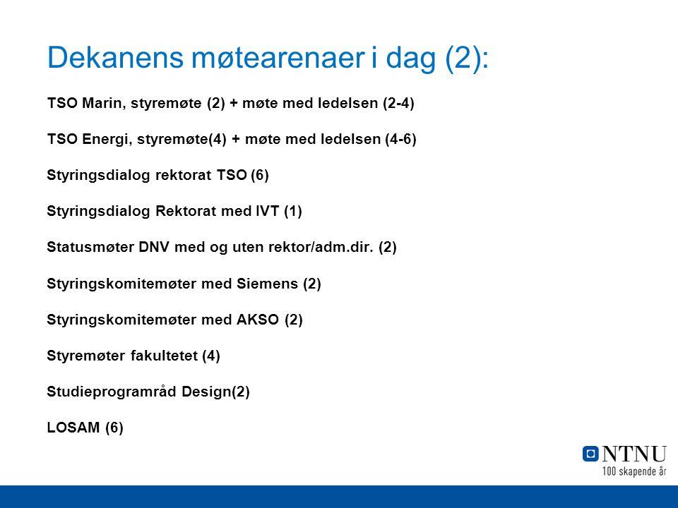 Dekanens møtearenaer i dag (3): Fakultetets ansettelsesutvalg (8) NFR referansegruppe næringsph.d (2-4) Oslo Knowledge Maritime Hub sammen Harald Ellingsen (4) TSO Medisin, styringskomite (2) NTNU's likestillingskomite (2-4) Technoport, leder av priskomite (1-2) Møter med eksterne universiteter, bedrifter, gjester etc.