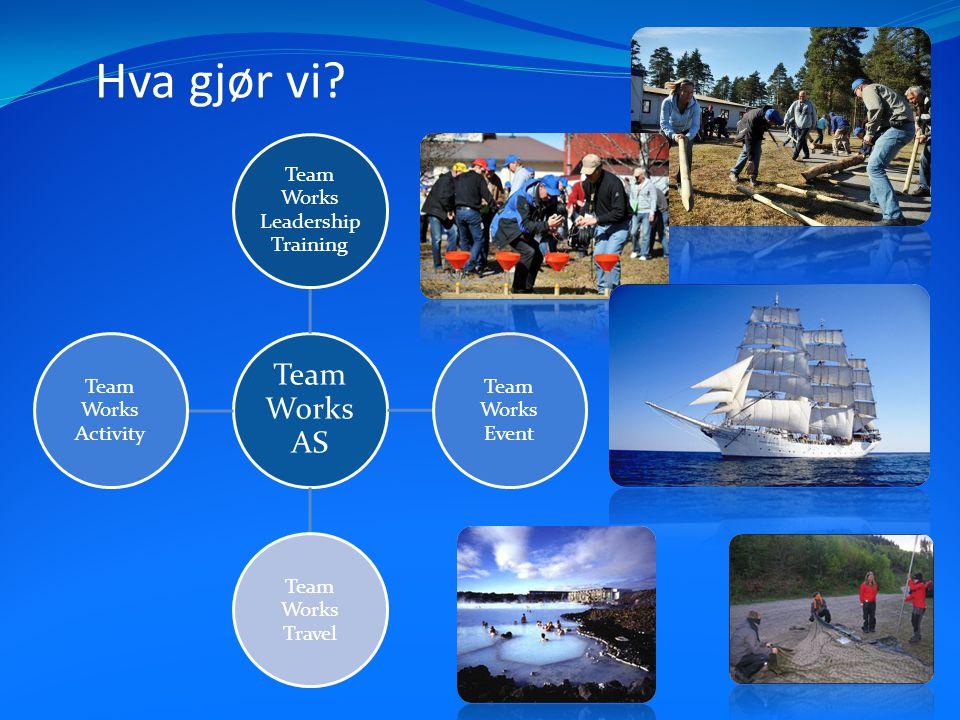 Hva gjør vi? Team Works AS Team Works Leadership Training Team Works Event Team Works Travel Team Works Activity