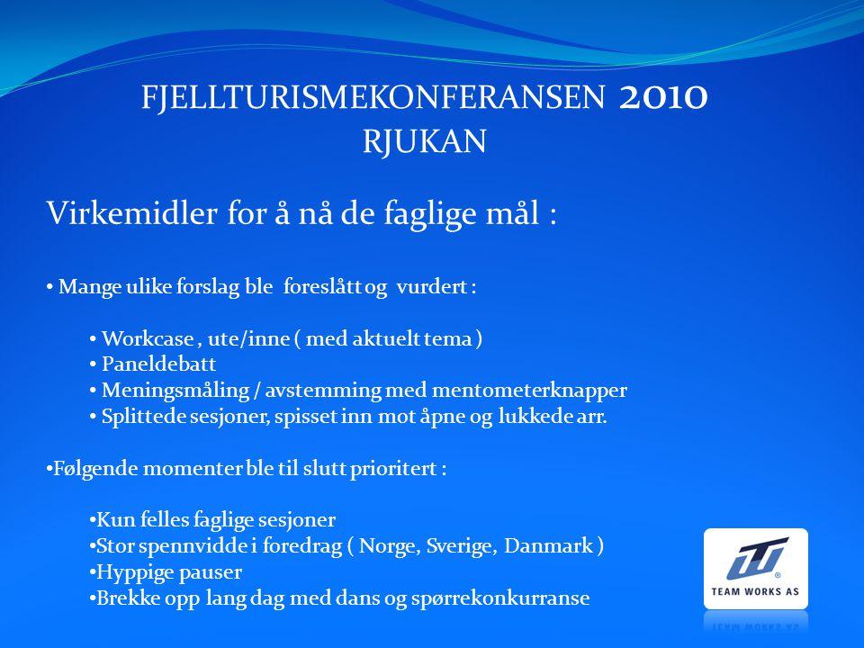 FJELLTURISMEKONFERANSEN 2010 RJUKAN Virkemidler for å nå de faglige mål : Mange ulike forslag ble foreslått og vurdert : Workcase, ute/inne ( med aktu