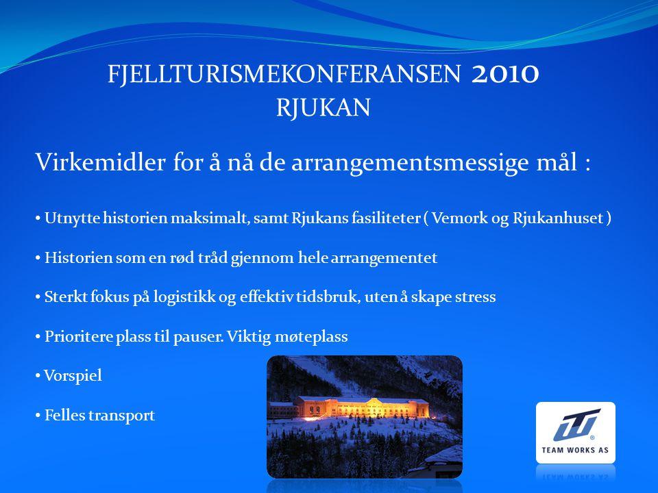 FJELLTURISMEKONFERANSEN 2010 RJUKAN Virkemidler for å nå de arrangementsmessige mål : Utnytte historien maksimalt, samt Rjukans fasiliteter ( Vemork o