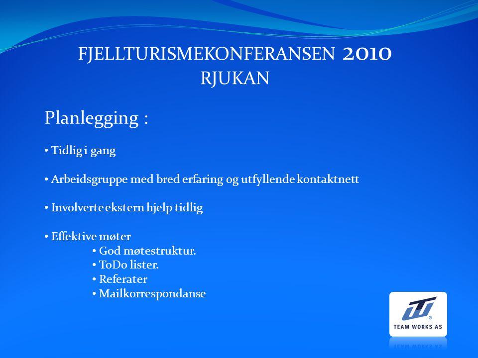 FJELLTURISMEKONFERANSEN 2010 RJUKAN Planlegging : Tidlig i gang Arbeidsgruppe med bred erfaring og utfyllende kontaktnett Involverte ekstern hjelp tid