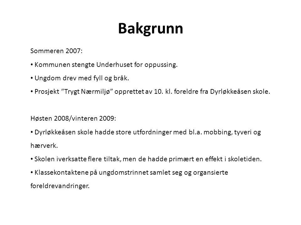 """Bakgrunn Sommeren 2007: Kommunen stengte Underhuset for oppussing. Ungdom drev med fyll og bråk. Prosjekt """"Trygt Nærmiljø"""" opprettet av 10. kl. foreld"""