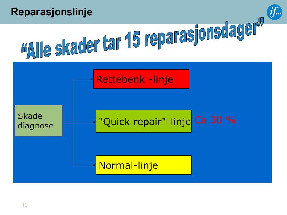 13 Skade diagnose Rettebenk -linje Quick repair -linje Normal-linje Ca 30 % Reparasjonslinje