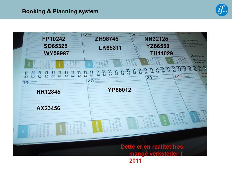 Booking & Planning system FP10242 SD65325 WY58987TU11029 YZ66558 NN32125 AX23456 HR12345 YP65012 ZH98745 LK65311 Dette er en realitet hos mange verkst