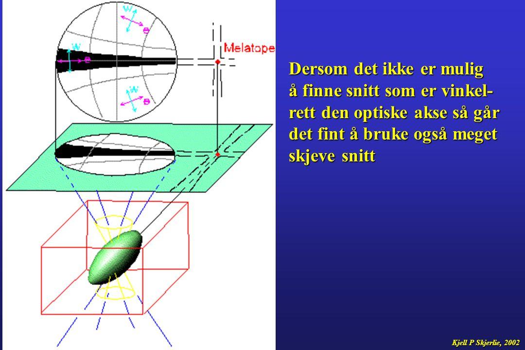 Dersom det ikke er mulig å finne snitt som er vinkel- rett den optiske akse så går det fint å bruke også meget skjeve snitt Kjell P Skjerlie, 2002