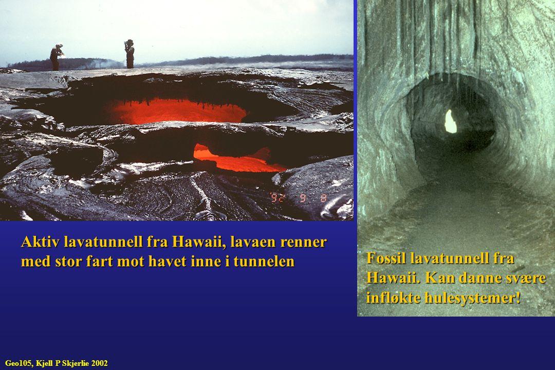 Aktiv lavatunnell fra Hawaii, lavaen renner med stor fart mot havet inne i tunnelen Fossil lavatunnell fra Hawaii. Kan danne svære infløkte hulesystem