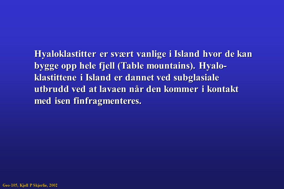 Hyaloklastitter er svært vanlige i Island hvor de kan bygge opp hele fjell (Table mountains). Hyalo- klastittene i Island er dannet ved subglasiale ut