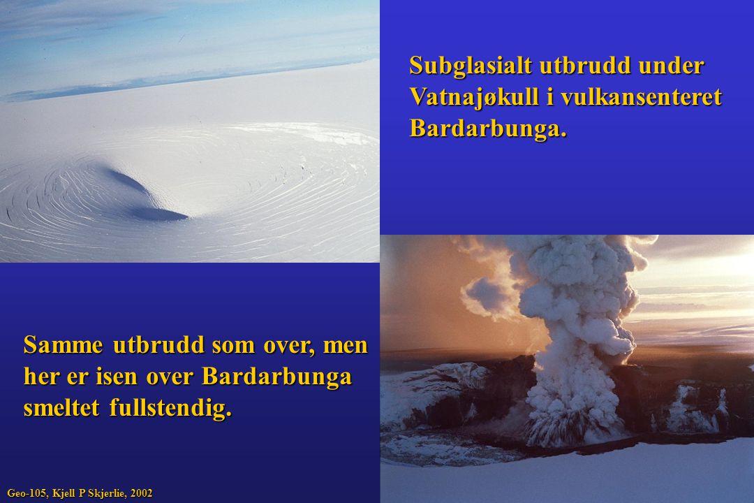 Subglasialt utbrudd under Vatnajøkull i vulkansenteret Bardarbunga. Samme utbrudd som over, men her er isen over Bardarbunga smeltet fullstendig. Geo-
