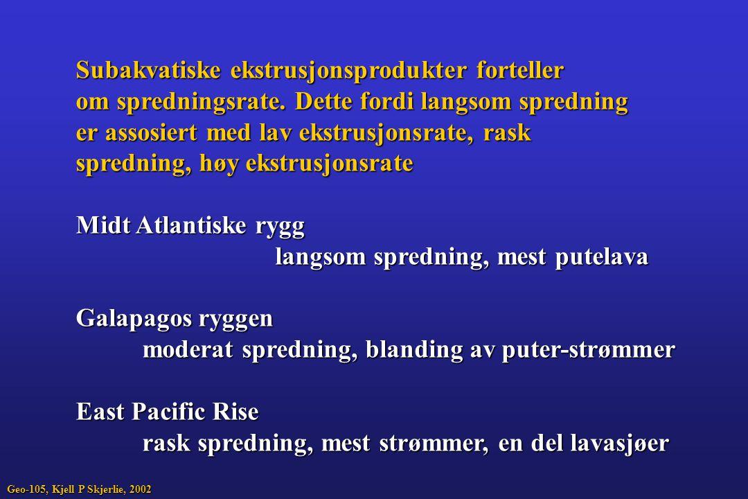 Subakvatiske ekstrusjonsprodukter forteller om spredningsrate. Dette fordi langsom spredning er assosiert med lav ekstrusjonsrate, rask spredning, høy