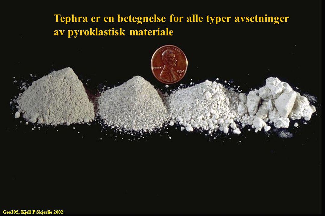 Tephra er en betegnelse for alle typer avsetninger av pyroklastisk materiale Geo105, Kjell P Skjerlie 2002