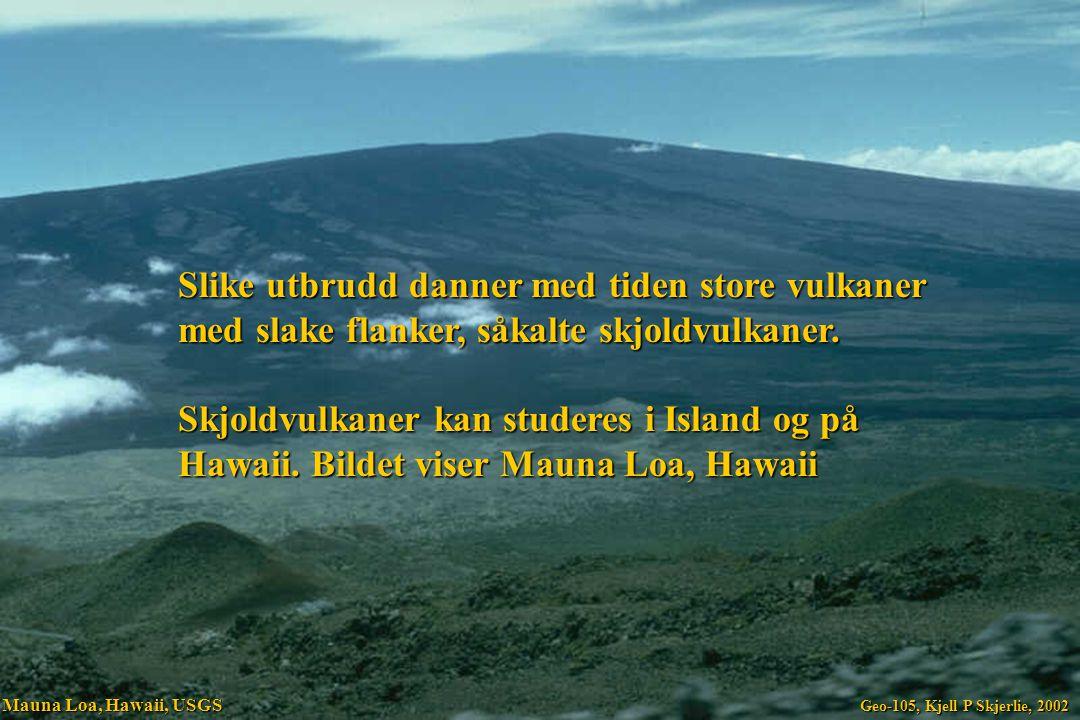Slike utbrudd danner med tiden store vulkaner med slake flanker, såkalte skjoldvulkaner. Skjoldvulkaner kan studeres i Island og på Hawaii. Bildet vis