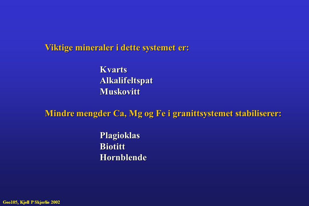 Viktige mineraler i dette systemet er: KvartsAlkalifeltspatMuskovitt Mindre mengder Ca, Mg og Fe i granittsystemet stabiliserer: PlagioklasBiotittHorn