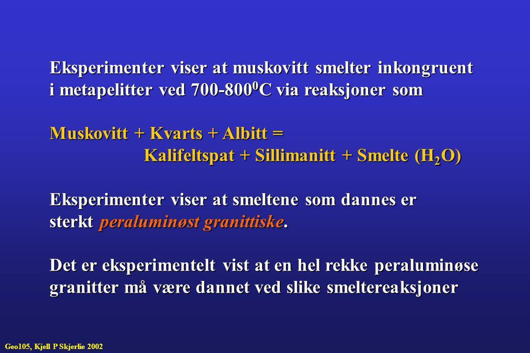 Eksperimenter viser at muskovitt smelter inkongruent i metapelitter ved 700-800 0 C via reaksjoner som Muskovitt + Kvarts + Albitt = Kalifeltspat + Si
