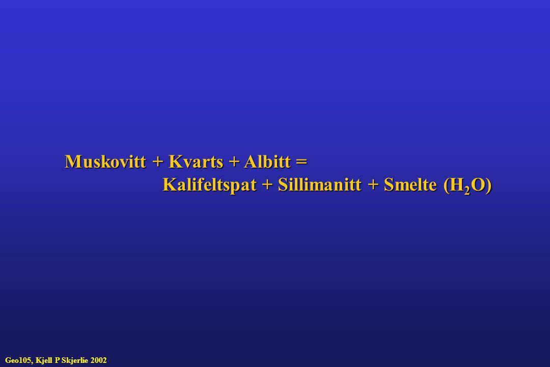 Muskovitt + Kvarts + Albitt = Kalifeltspat + Sillimanitt + Smelte (H 2 O) Geo105, Kjell P Skjerlie 2002