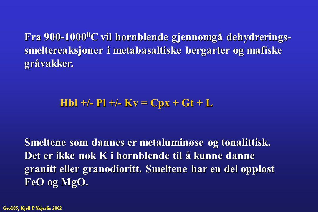 Fra 900-1000 0 C vil hornblende gjennomgå dehydrerings- smeltereaksjoner i metabasaltiske bergarter og mafiske gråvakker. Hbl +/- Pl +/- Kv = Cpx + Gt