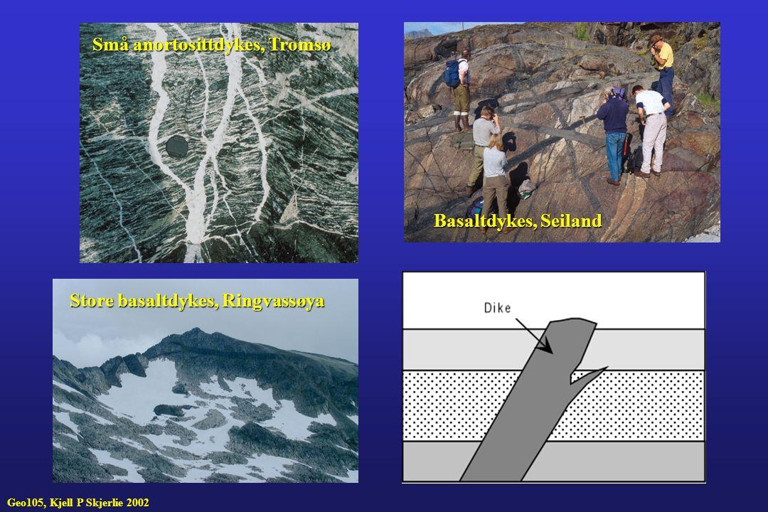 Små anortosittdykes, Tromsø Basaltdykes, Seiland Store basaltdykes, Ringvassøya Geo105, Kjell P Skjerlie 2002