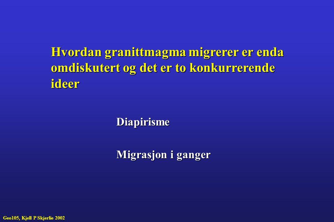 Hvordan granittmagma migrerer er enda omdiskutert og det er to konkurrerende ideer Diapirisme Migrasjon i ganger Geo105, Kjell P Skjerlie 2002