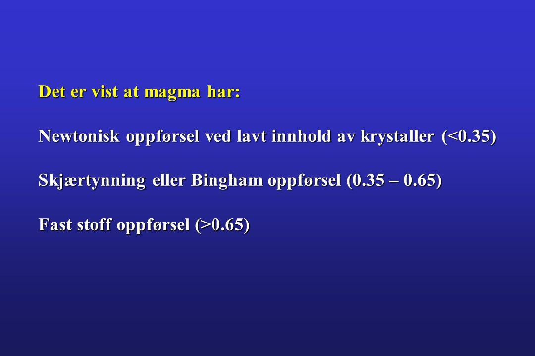 Det er vist at magma har: Newtonisk oppførsel ved lavt innhold av krystaller (<0.35) Skjærtynning eller Bingham oppførsel (0.35 – 0.65) Fast stoff opp