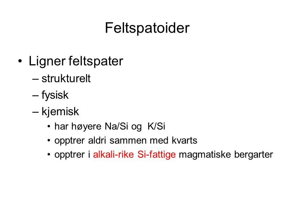 Nefelin Heksagonal Na 3 K(Al 4 Si 4 O 16 ) eller 3NaAlSiO 4 *KAlSiO 4 Ved høy temperatur full blandbarhet med kalsilitt K 4 (Al 4 Si 4 O 16 ) –jfr albitt - K-feltspat Normalt K:Na = 1:3