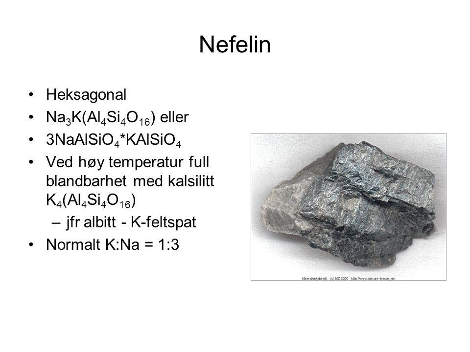 Nefelin Heksagonal Na 3 K(Al 4 Si 4 O 16 ) eller 3NaAlSiO 4 *KAlSiO 4 Ved høy temperatur full blandbarhet med kalsilitt K 4 (Al 4 Si 4 O 16 ) –jfr alb