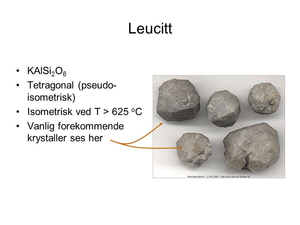 Leucitt KAlSi 2 O 6 Tetragonal (pseudo- isometrisk) Isometrisk ved T > 625 o C Vanlig forekommende krystaller ses her