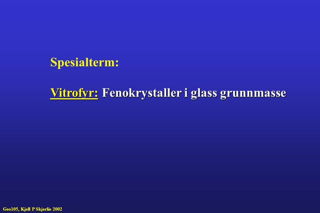 Spesialterm: Vitrofyr:Fenokrystaller i glass grunnmasse Vitrofyr: Fenokrystaller i glass grunnmasse Geo105, Kjell P Skjerlie 2002