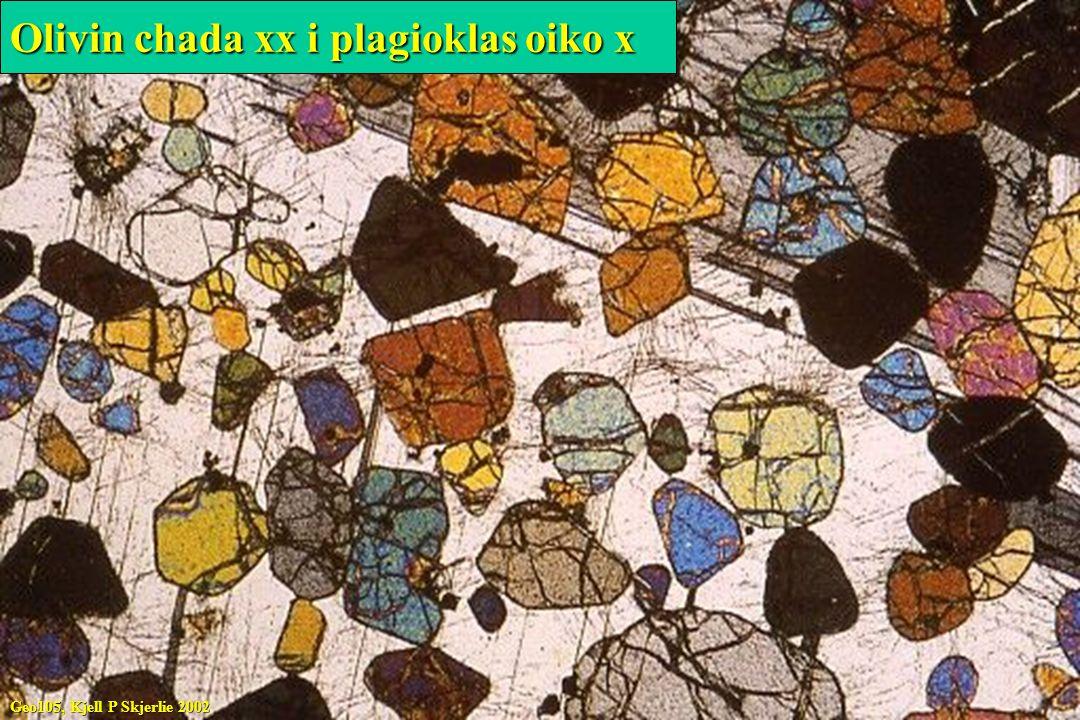 Olivin chada xx i plagioklas oiko x Geo105, Kjell P Skjerlie 2002