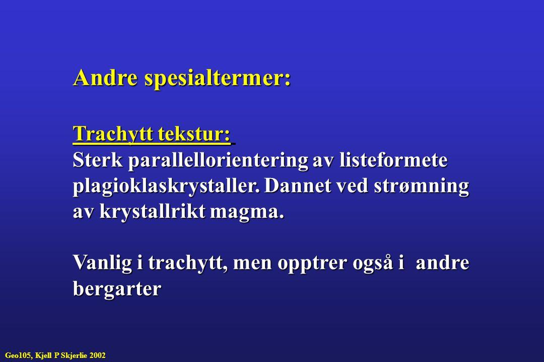Andre spesialtermer: Trachytt tekstur: Sterk parallellorientering av listeformete plagioklaskrystaller.