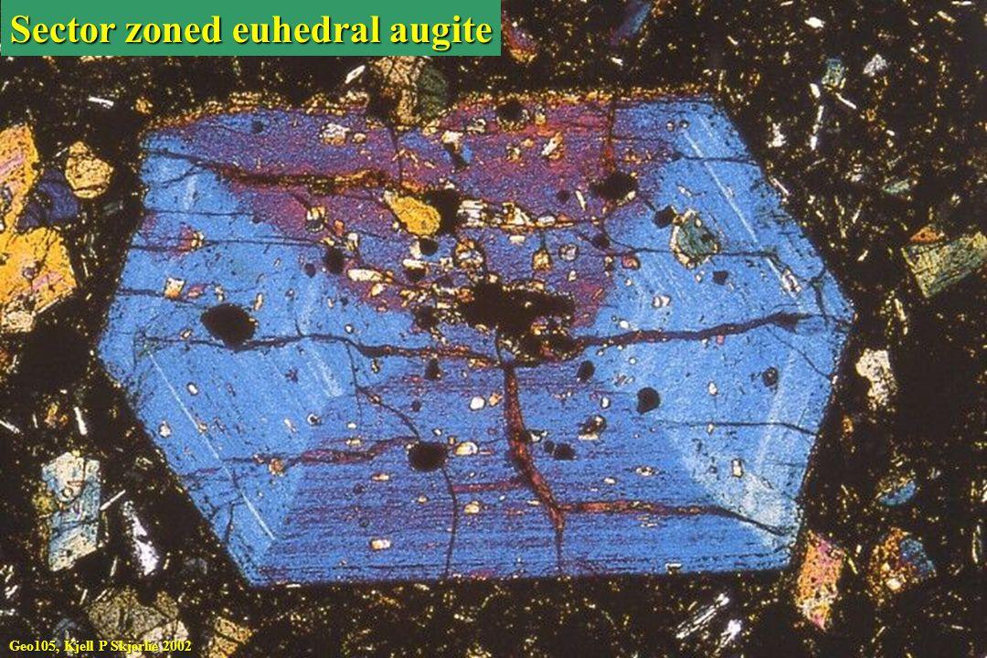 Geo105, Kjell P Skjerlie 2002 Sector zoned euhedral augite