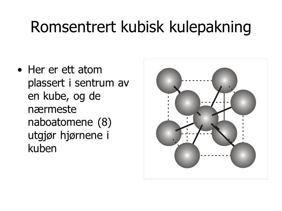 Romsentrert kubisk kulepakning Her er ett atom plassert i sentrum av en kube, og de nærmeste naboatomene (8) utgjør hjørnene i kuben
