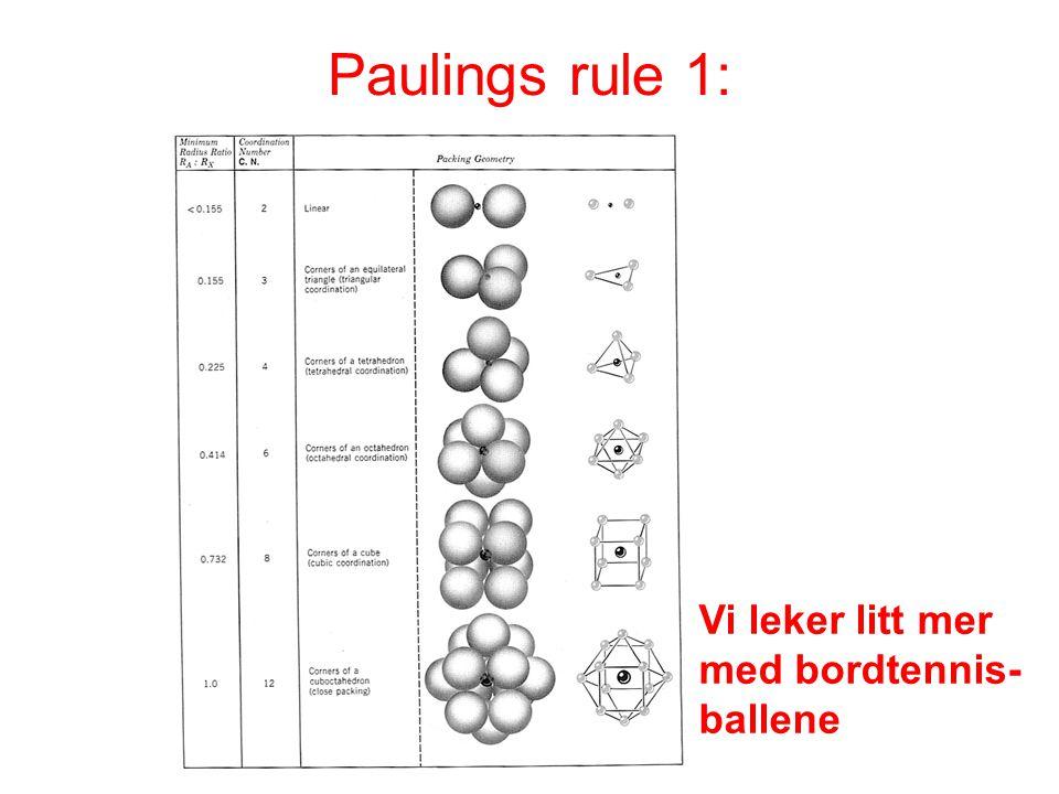 Vi leker litt mer med bordtennis- ballene Paulings rule 1: