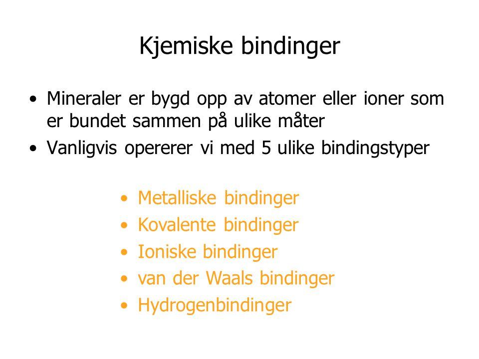 Kjemiske bindinger Mineraler er bygd opp av atomer eller ioner som er bundet sammen på ulike måter Vanligvis opererer vi med 5 ulike bindingstyper Met