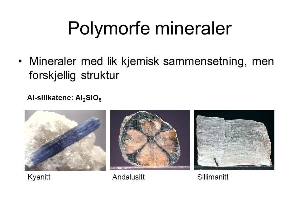 Polymorfe mineraler Mineraler med lik kjemisk sammensetning, men forskjellig struktur Al-silikatene: Al 2 SiO 5 KyanittAndalusittSillimanitt