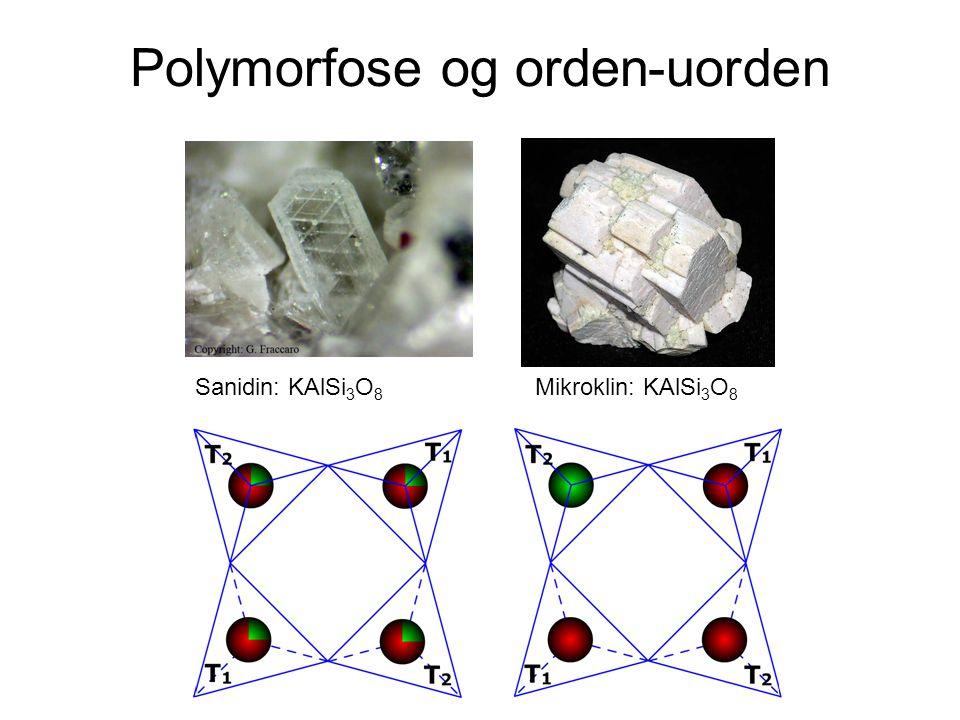 Polymorfose og orden-uorden Sanidin: KAlSi 3 O 8 Mikroklin: KAlSi 3 O 8