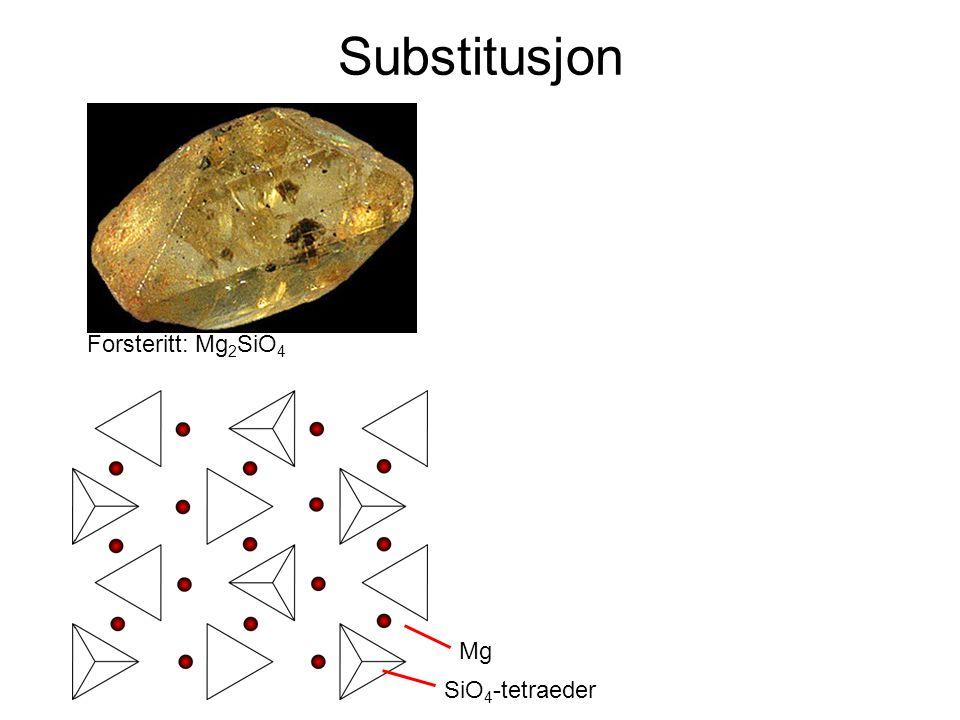 Substitusjon Forsteritt: Mg 2 SiO 4 SiO 4 -tetraeder Mg