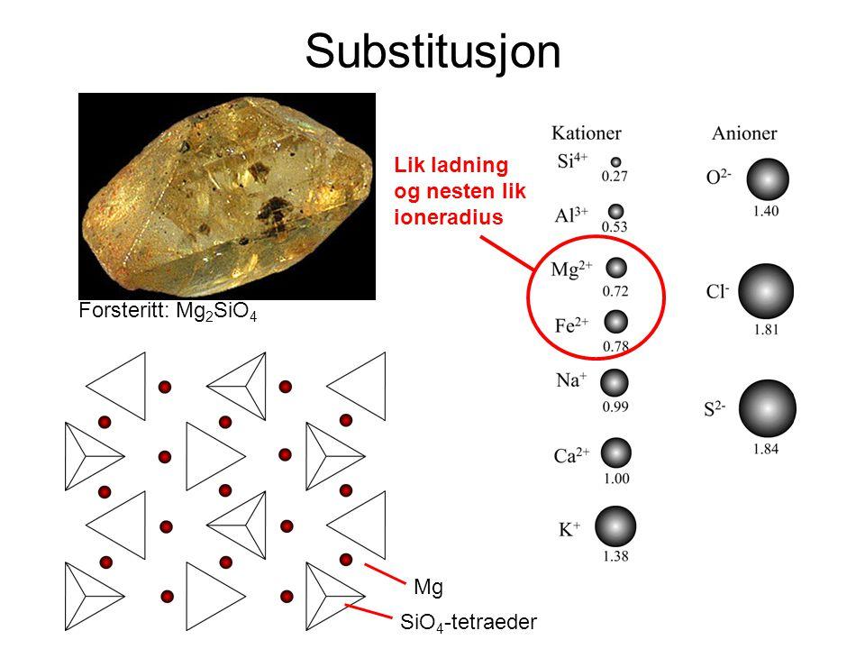 Substitusjon Forsteritt: Mg 2 SiO 4 SiO 4 -tetraeder Mg Lik ladning og nesten lik ioneradius