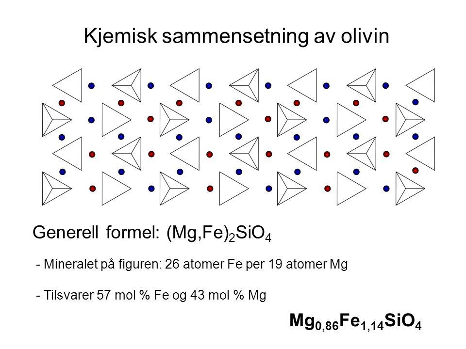 Generell formel: (Mg,Fe) 2 SiO 4 Mg 0,86 Fe 1,14 SiO 4 Kjemisk sammensetning av olivin - Mineralet på figuren: 26 atomer Fe per 19 atomer Mg - Tilsvar