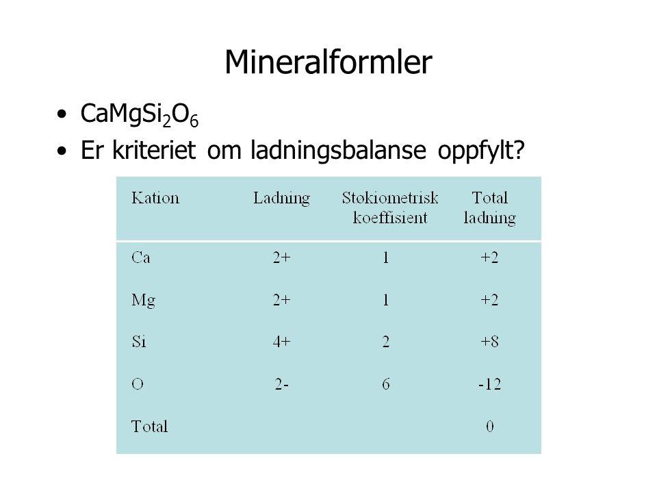 Mineralformler CaMgSi 2 O 6 Er kriteriet om ladningsbalanse oppfylt?