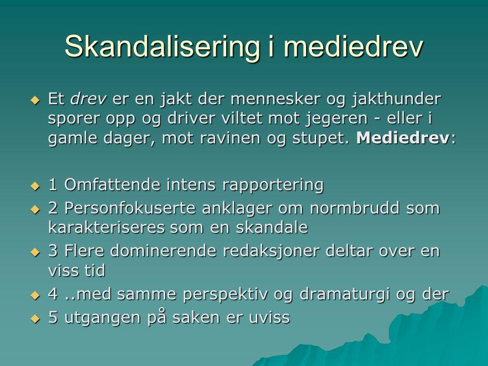 Skandalisering i mediedrev  Et drev er en jakt der mennesker og jakthunder sporer opp og driver viltet mot jegeren - eller i gamle dager, mot ravinen