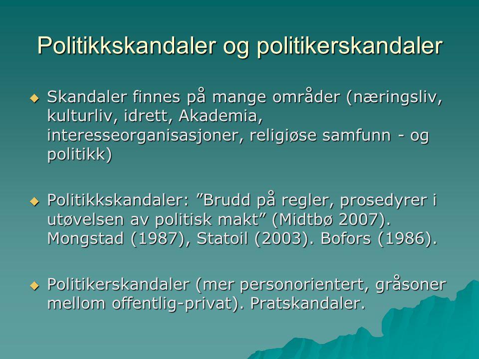 Politikkskandaler og politikerskandaler  Skandaler finnes på mange områder (næringsliv, kulturliv, idrett, Akademia, interesseorganisasjoner, religiø