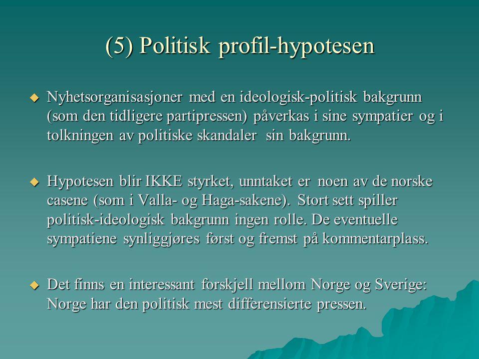 (5) Politisk profil-hypotesen  Nyhetsorganisasjoner med en ideologisk-politisk bakgrunn (som den tidligere partipressen) påverkas i sine sympatier og